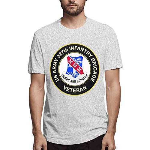 Star 327th (U.S. Army 327th Infantry Brigade Veteran Men's Short Sleeve T-Shirt Gray)