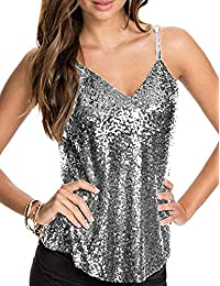 Womens Sexy Sequin Top Camisole Backless Spaghetti Strap V Neck Summer  Clubwear Tank Tops 3965c0c758