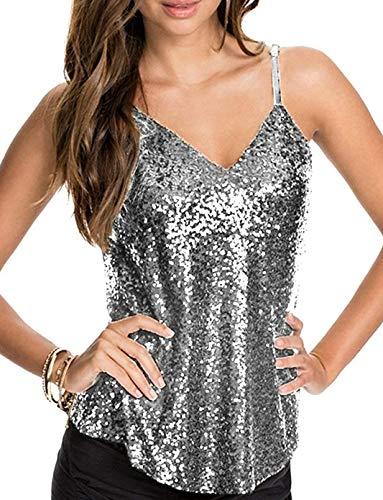 Inorin Womens Sexy Sequin Top Camisole Backless Spaghetti Strap V Neck Summer Clubwear Tank Tops Silver -