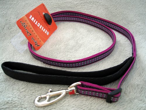 Red Dingo Reflective Safety Dog Lead, Small, Purple