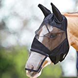 Horse Fly Mask, Equine Fly Mask with Ears and Long Nose for Baby, Small, Large, Adult Horses (Full Face -Black Mesh)