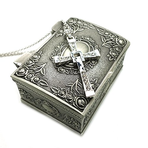 Titanium Steel Fast & Furious Toretto Cross Pendant Necklace with Jewelry Box (Silver)