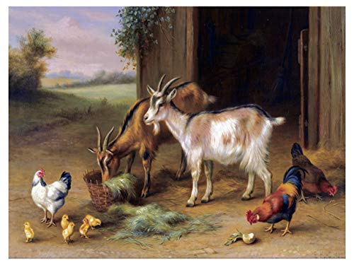 Farm Ranch Fowl Cock Goat Chickens by Walter Hunt Accent Tile Mural Kitchen Bathroom Wall Backsplash Behind Stove Range Sink Splashback One Tile 8