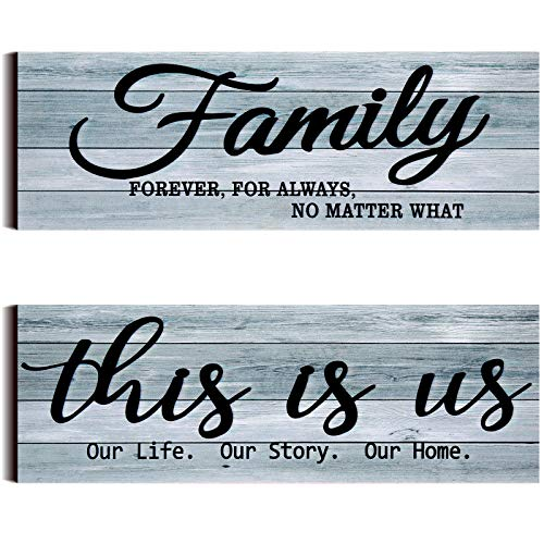 2 Pieces This is Us Rustic Wooden Sign Family Rustic Wooden Wall Decor Family Farmhouse Entryway Sign for Bedroom Living…