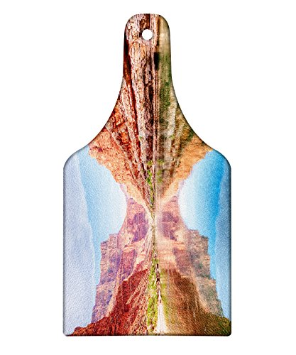 Lunarable River Cutting Board, Colorado River with the Reflection of Grand Canyon Cliffs Summer Scenery, Decorative Tempered Glass Cutting and Serving Board, Wine Bottle Shape, Blue Burnt Sienna Green (Burnt Sienna Glass)