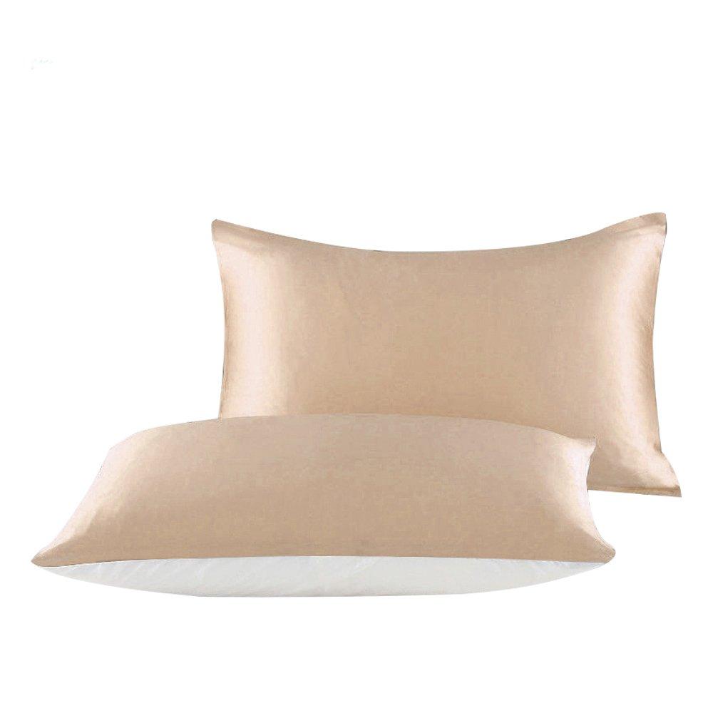 100 %シルクoverコットンベース枕カバーfor Hair & Face Two Sided (シルクとコットン) Pillow Sham隠しファスナー付きvividmoo King 20*36 inch イエロー B073CPXWZH King 20*36 inch シャンパン シャンパン King 20*36 inch