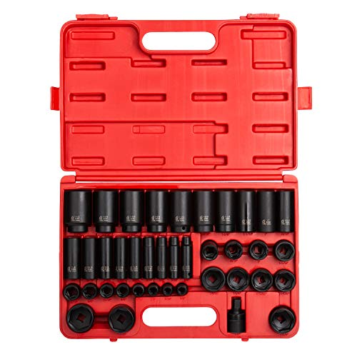 Sunex 2668, 1/2 Inch Drive Master Impact Socket Set, 39-Piece, SAE, 3/8