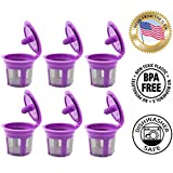 Fill N Save 6 Reusable K Cups, Refillable Keurig Filters for Keurig 2.0 and 1.0 Coffee Machines. Excellent Filter Replacement to Coffee Pods and Accessories