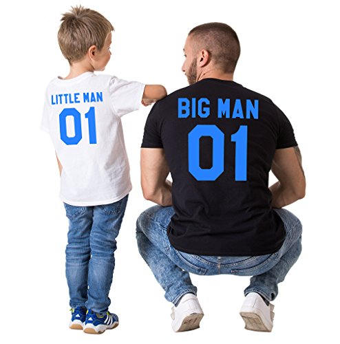 Big Man & Little Man Back Print Family T-Shirts (Cute Black And White Outfit Ideas)