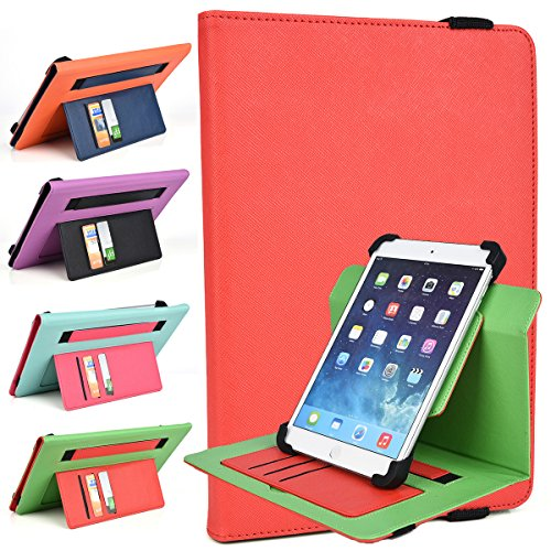 Stand Itv (Fiesta Red/Green Flash Case Fits Hisense Sero 7 LT Pro, ITV F5070 PC Tablet | TwoTone Portrait or Landscape Orientation 360 Stand Cover)