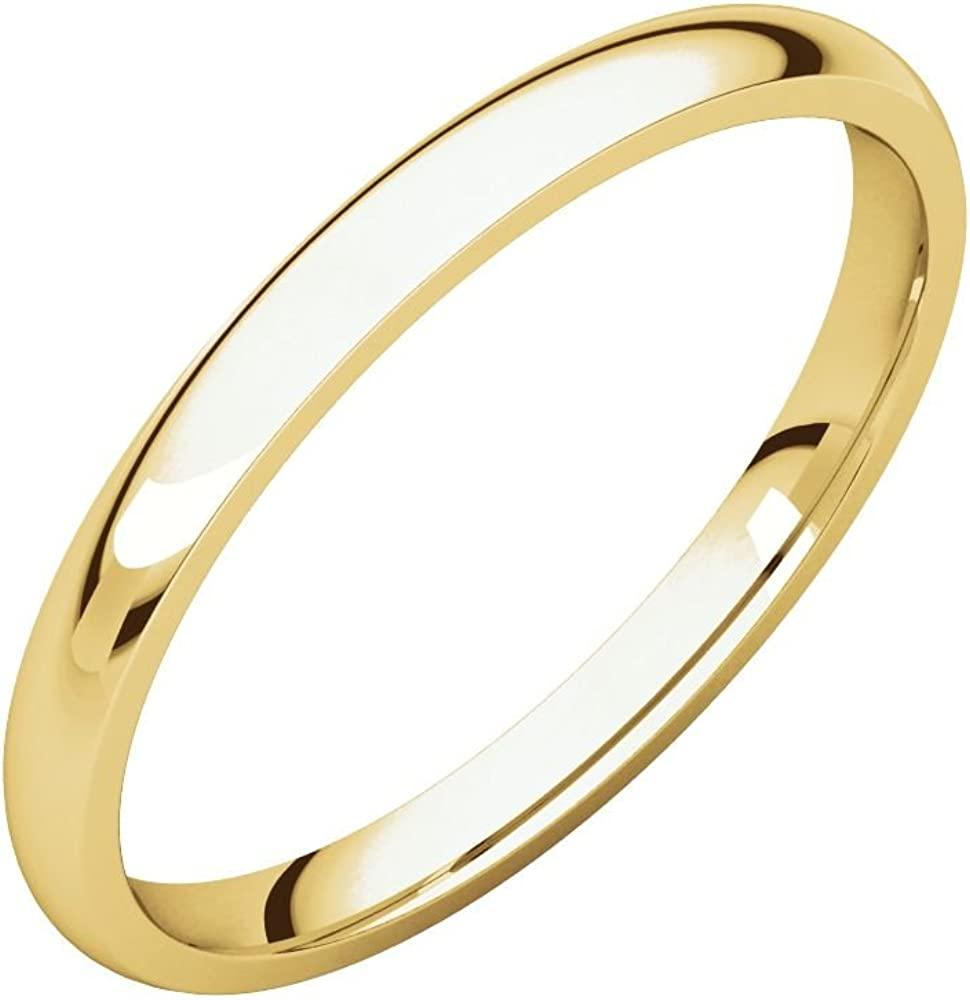 Jewels By Lux 14K White Gold 2mm Flat Comfort Fit Bridal Wedding Ring Band