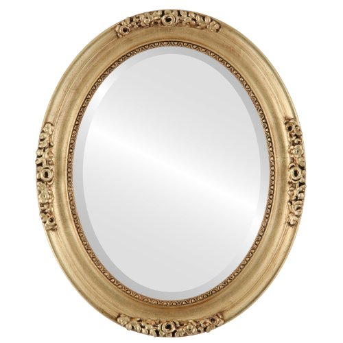 Oval Beveled Wall Mirror for Home Decor – Versailles Style – Gold Leaf – 22×28 outside dimensions