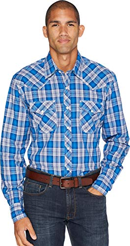 Wrangler Men's Blue Plaid 20X Competition Shirt Blue Large by Wrangler
