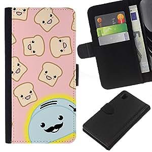 Sony Xperia Z1 / L39h / C6902 Modelo colorido cuero carpeta tirón caso cubierta piel Holster Funda protección - Toaster Cartoon Handlebar Happy Toast