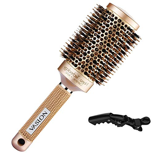 VASLON Professional Nano Thermic Ceramic & Ionic Round Barrel Hair Brush with Boar-Bristle For Blow Drying, Curling & Straightening
