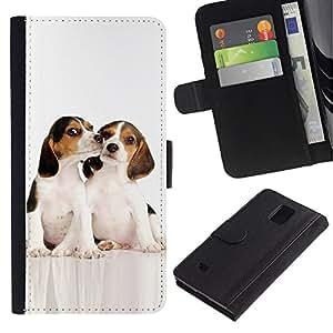 eJoy---La carpeta del tirón la caja de cuero de alta calidad de la PU Caso protector - Samsung Galaxy Note 4 IV - --Beagle Puppes Kiss Friends White Dog