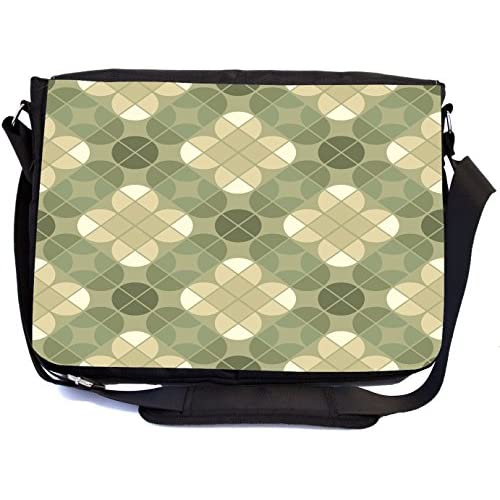 Rikki Knight Dusty Green Seamless Pattern Design Design Multifunctional Messenger Bag - School Bag - Laptop Bag - with padded insert for School or Work - Includes Matching Compact Mirror
