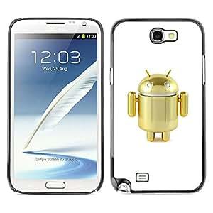 For SAMSUNG Galaxy Note 2 II / N7100 Case , Robot Golden Cute Air Toy - Diseño Patrón Teléfono Caso Cubierta Case Bumper Duro Protección Case Cover Funda