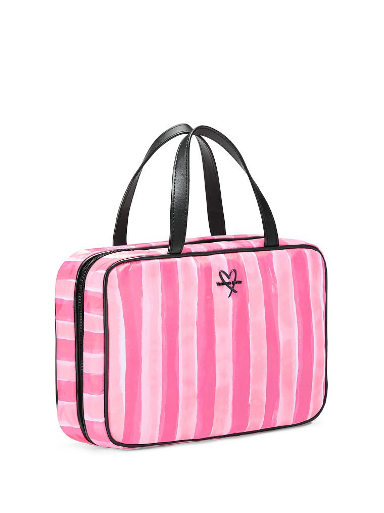 Victoria's Secret Pink Stripe Hanging Travel Case