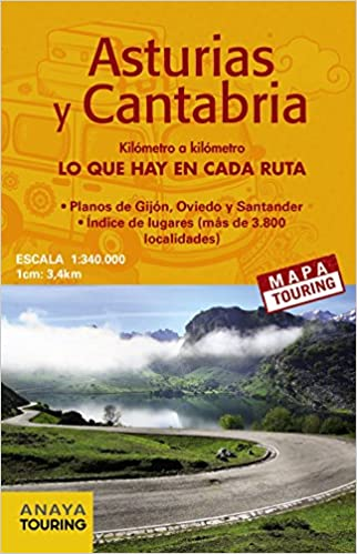 Mapa de carreteras Asturias y Cantabria desplegable , escala ...