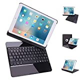 VANKY iPad Keyboard Case for Air 10.5' 2019 (3rd Gen)/2017 iPad Pro 10.5' Bluetooth Wireless Keyboard Case 360 Rotatable 7 Backlit Colors Smart Wake/Sleep Keyboard Ultrathin, Aluminium (Black)