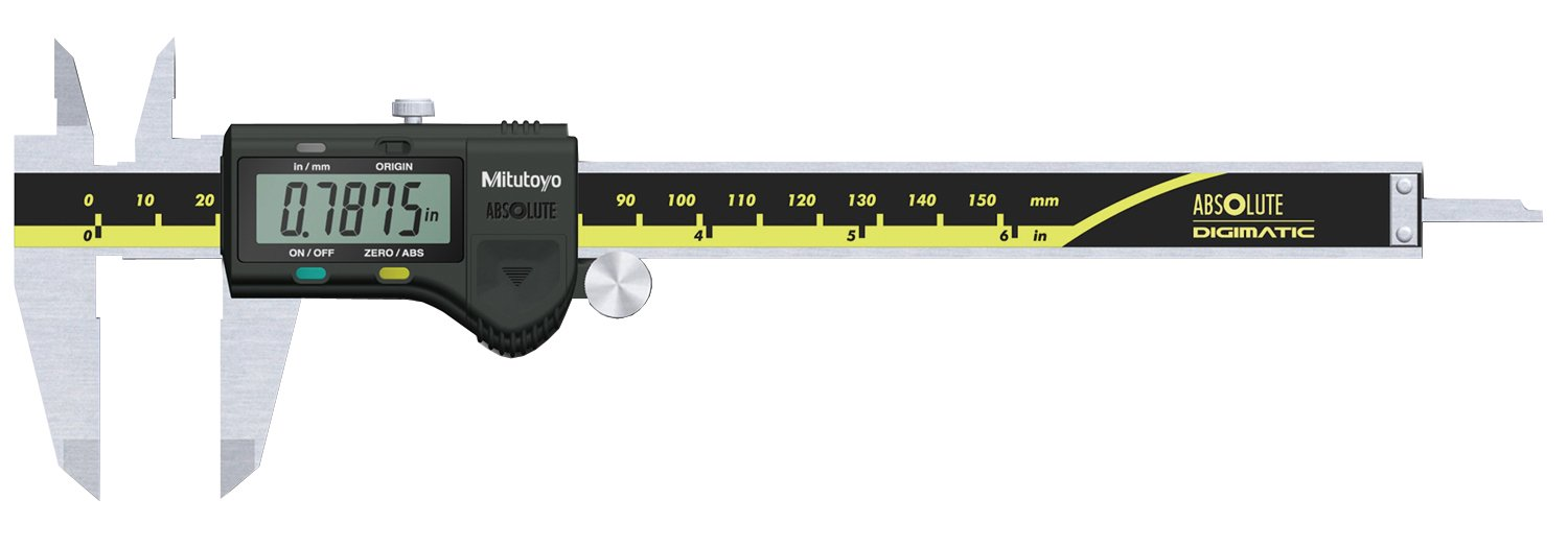 Mitutoyo 500-171-20 Digital Calipers, Battery Powered, Inch/Metric, for Inside, Outside, Depth and Step Measurements, Stainless Steel, 0''/0mm-6''/150mm Range, +/-0.001''/0.01mm Accuracy, 0.0005''/0.01mm Resolution