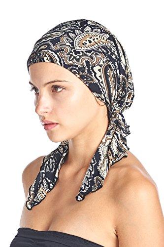Ashford & Brooks Women's Pretied Printed Fitted Headscarf Chemo Bandana - Paisley Navy