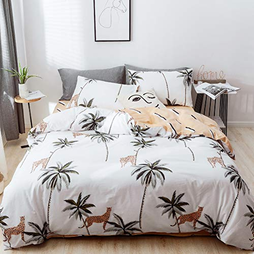 mixinni Tropical Duvet Cover Set, 3 Pieces Coconut Palm Tree Leopard Pattern Printed Bedding Set with 2 Pillowcases, Reversible Geometric Pattern on Blush, with Zipper Ties-Queen/Full Size (Tree Palm Pattern)