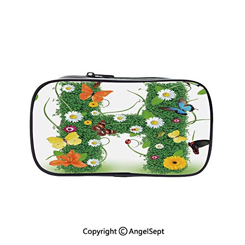 Bag Pen Case Felt Students Stationery Pouch Zipper Bag,Ornamental H with Summer Effects and Dahlia Ladybug Daisy Initials Artsy Concept Multicolor 5.1inches,for Pens,Pencils,and Other School Supplies