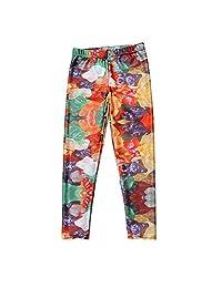 JOYHY Kids Girls Elastic Waist Stretchy Printed Leggings Pants Footless Tights