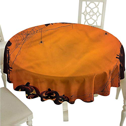 Table Cover Halloween,Halloween Pumpkin Scary Circular Table Cover Round Tablecloth D 60