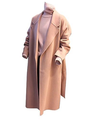 Suelto Abrigo Chaqueta Cuello de Solapa Cardigan Trench Coat Manga Larga Para Mujer Pink XS