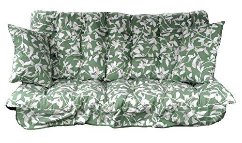 Garden Patio 3 Seater Replacement Swing Hammock Bench Cushion Set Glen Green Leaf Design GB LEISURE