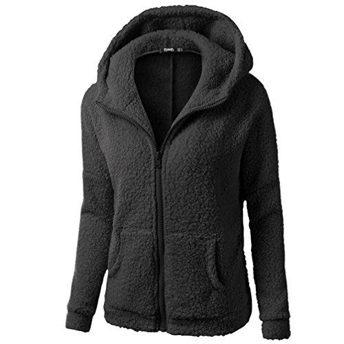 Other Wool Coat (YANG-YI 2017 Hot Sale, Women Hooded Sweater Coat Winter Warm Wool Zipper Coat Cotton Coat (Black, M))
