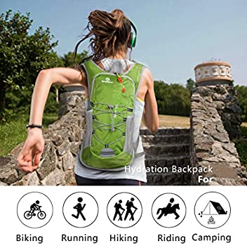 Riding and Music Festival Suitable for Men Women Kids Biking,Hiking,Camping Water Backpack with 2L Hydration Bladder Lightweight Hydration Pack Cycling Black Spoligod Hydration Backpack