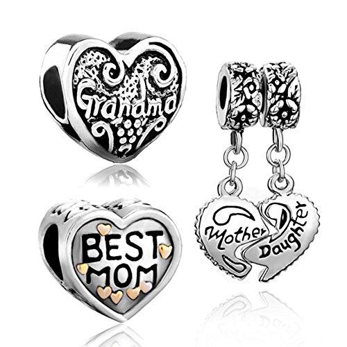 CharmSStory Heart Love Mom Grandma Mother Daughter 3 Charms Lucky Beads for Bracelets