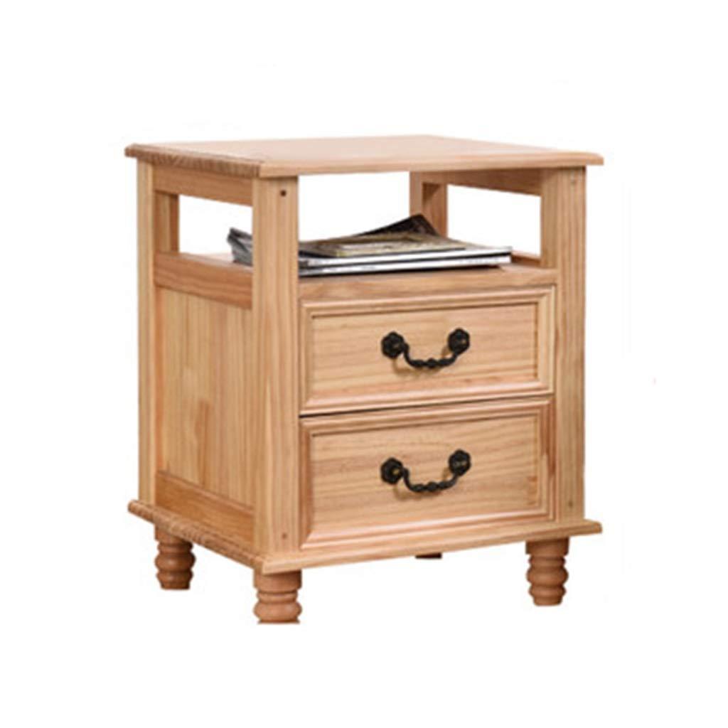 Möbel Nachttisch für Boxspring betten Schlafzimmer-Massivholz-Nachttisch - 2 Schubladen-Kiefernholz-Nachttisch-Kabinett-Moderne Schlafzimmer-Tabellen-Möbel (Holzfarbe) (Size : 35 * 32 * 55cm)