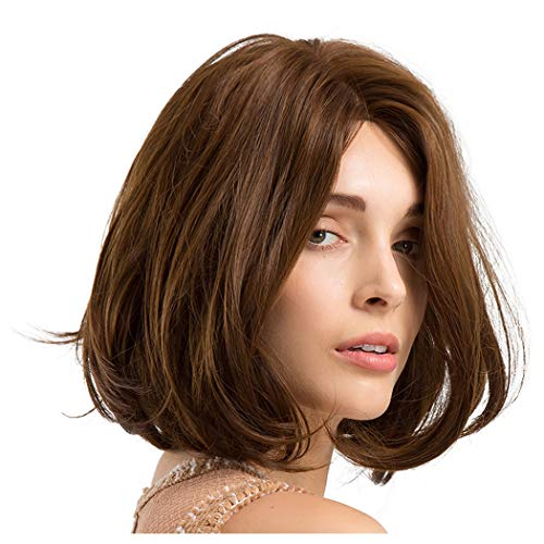 Clearance Straight Bob Wig for Women Middle Parting Curly Full Hair Wig Synthetic Fiber Daily Cosplay Party Wig (Brown)]()