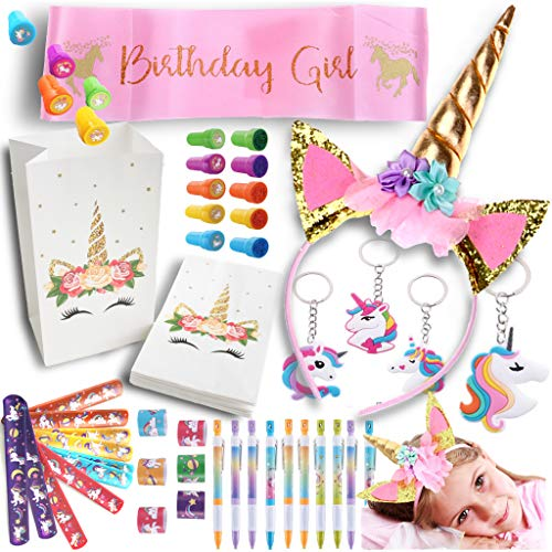 Party Spice 52 Pack Best Unicorn Birthday Party Favors Supplies Fillers, Sash, Crown,10x Set Bracelets, Stamps, Fun Pencils, Keychains, Goodie Bags, Kids Girls Rainbow Toys (Complete Party Pack)