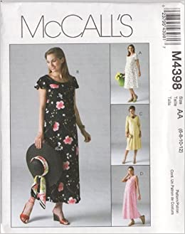 cd46a811f0c Mccalls M4398 Sewing Pattern Misses 6-8-10-12 Raised Empire Waist Flared Maternity  Dress in Two Lengths with Optional Attached Back Tie Belt  Mccalls  ...
