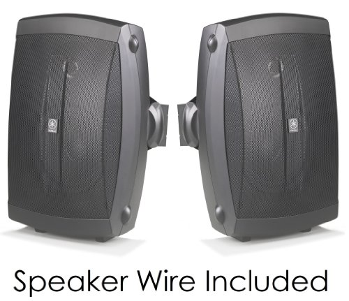 Yamaha All Weather Indoor & Outdoor Wall Mountable Natural Sound 120 watt 2-way Acoustic Suspension Speakers (Set of 2) Black with 5'' High Compliance Woofer, 1/2'' PEI Dome Tweeter & Wide Frequency Response + 100 ft 16 Gauge Speaker Wire - Compatible with  by YAMAHA