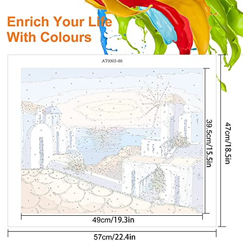 Emooqi Malen Nach Zahlen Erwachsene, Paint by Numbers DIY Handgemalt Ölgemälde Set mit Leinwand, Pinseln und Acrylfarben für Hausdeko Geschenk, Ohne Rahmen, 47 x 57 cm (Santorin)