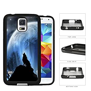 Wolf Howling On Hilltop With Full Moon Rubber Silicone TPU Cell Phone Case Samsung Galaxy S5 SM-G900