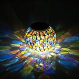 Solar Powered Mosaic Glass Garden Light, WANCHUANG Solar Table Lamp Color Changing Glass LED Rechargeable Solar Night Lamp Waterproof Solar Outdoor Lights for Home, Yard, Patio, Christmas Party Decorations, Ideal Gift (Colorful)