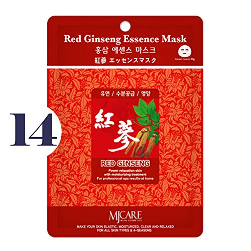 Pack of 14, The Elixir Beauty MJ Korean Cosmetic Full Face Collagen Red Ginseng Essence Mask Pack Sheet for Vitality, Clarity, Mosturizing, Relaxing