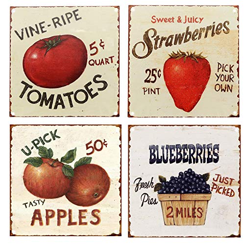 SIGNT Vintage Fruit Signs Vine Ripe Tomatoes,Sweet Juicy Strawberries,Tasty Apples,Fresh Picked Blueberries Reto Vintage Tin Bar Sign Country Home Decor Wall Decoration Signs Gifts Size 4pcs-12X12inch from SIGNT