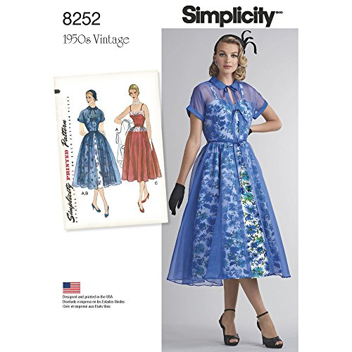 (Simplicity Pattern 8252 P5 Misses' 1950s Dress and Redingote, Size 12-14-16-18-20, by 1950s Vintage)