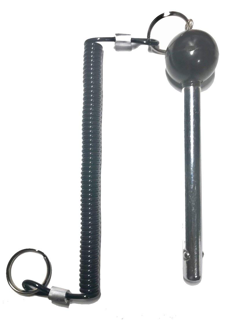 """1//2 Diameter 4-1//4/"""" Locking Length -Cotterless Detent Hitch Pin -Weight Stack Selector Key w//Lanyard SBDs 2 Pack World Class Quick Release Pin"""