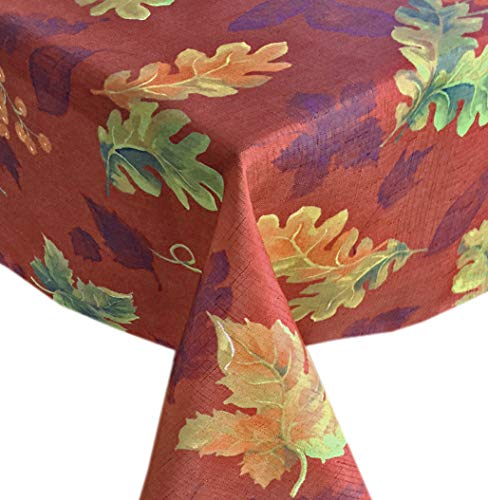 Swaying Leaves Fabric Print Tablecloth, No Iron and Stain Resistant, 60 Inch x 144 Inch Oblong/Rectangle, Brick