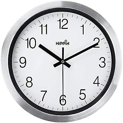 HIPPIH Silent Wall Clock, Non Ticking Digital Quiet Sweep Decorative Clocks